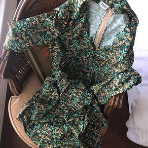 Vintage | Toss Boho 70s Patterned Tie Waist Dress